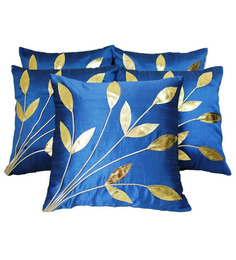 Zikrak Exim Leaves Patch Blue Cushion Covers (Set Of 5)