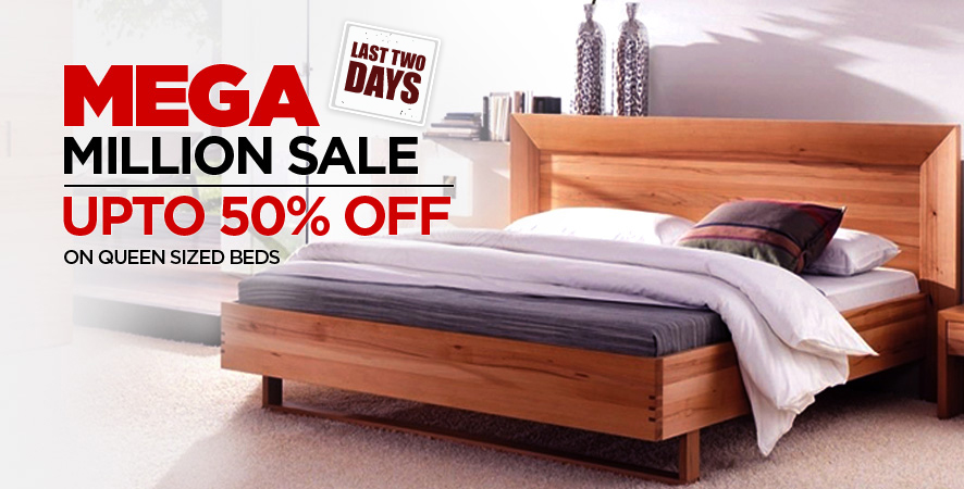 Mega Million Sale upto 50% off on Queen Sized  Beds